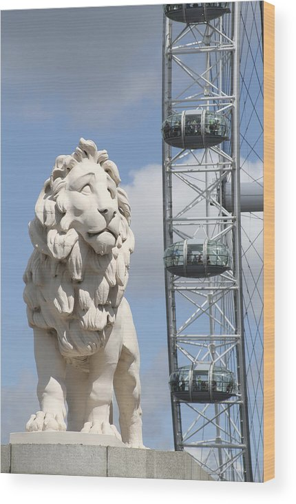 Lion Wood Print featuring the photograph Britannia Lion by Margie Wildblood