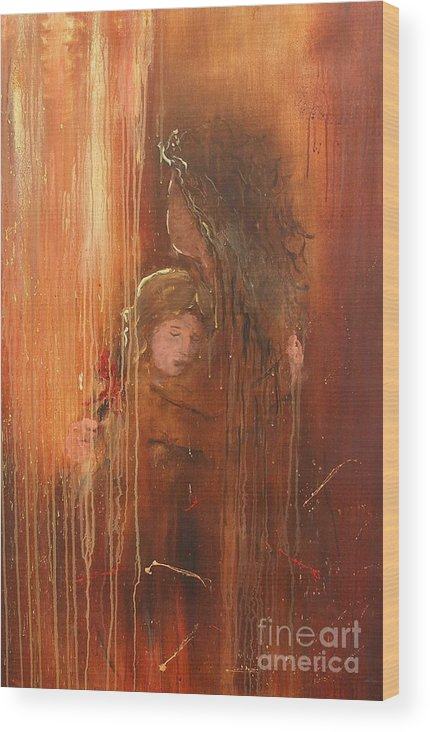 Caring Take Care Mother And Daughter Mom Baby Abstract Painting I Love You Rain Hug Little Girl Lovely Wood Print featuring the painting Caring by Miroslaw Chelchowski