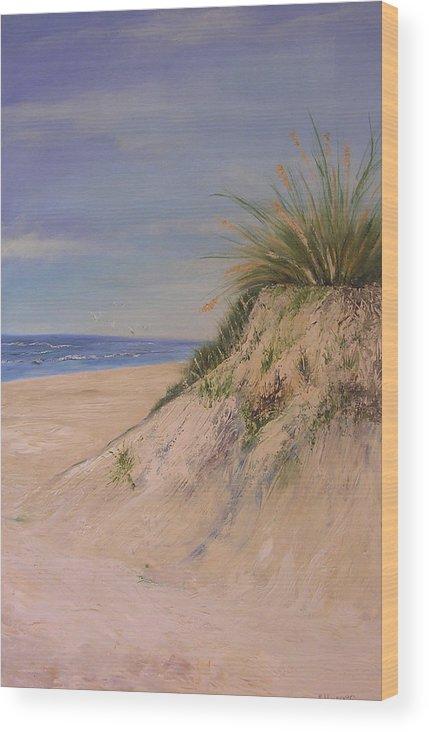 Dune Wood Print featuring the painting Chesapeake Bay Dune by Barbara Harper