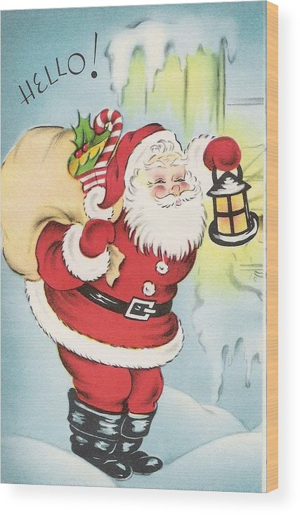 Santa Claus With Christmas Gifts Wood Print featuring the painting Christmas Illustration 1216 - Vintage Christmas Cards - Santa Claus With Christmas Gifts by TUSCAN Afternoon