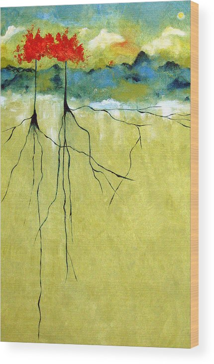 Abstract Wood Print featuring the painting Deep Roots by Ruth Palmer