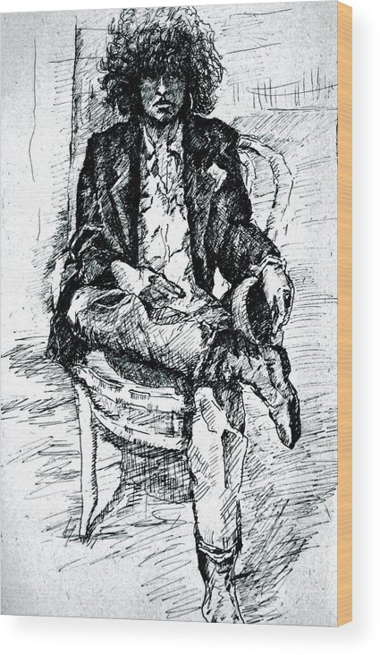 Sketch Wood Print featuring the drawing Dressed Nowhere To Go by Dan Earle