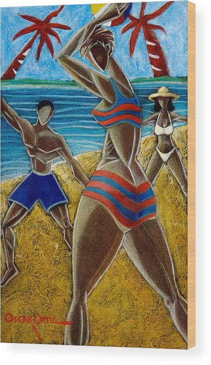 Beach Wood Print featuring the painting En Luquillo Se Goza by Oscar Ortiz