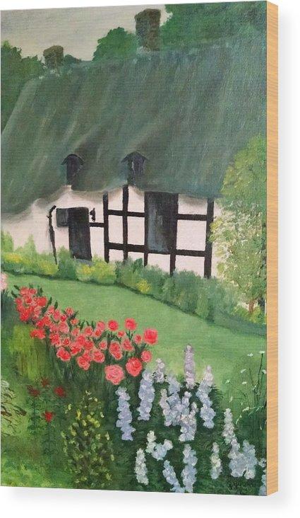 English Cottage Wood Print featuring the photograph English Cottage by Connie Young