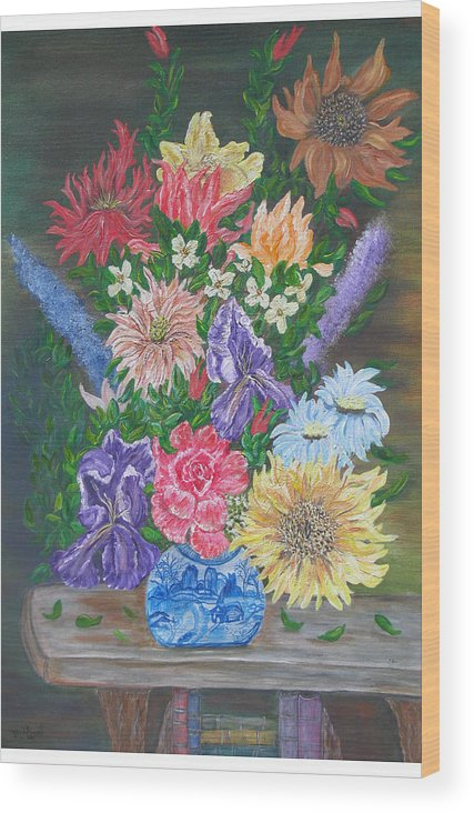 Floral Wood Print featuring the painting Flemish Floral by Mikki Alhart