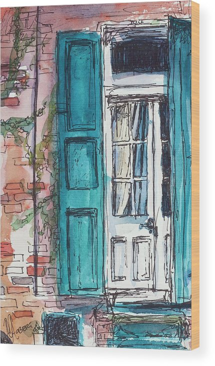 Blue Wood Print featuring the painting French Quarter by Ava Obert