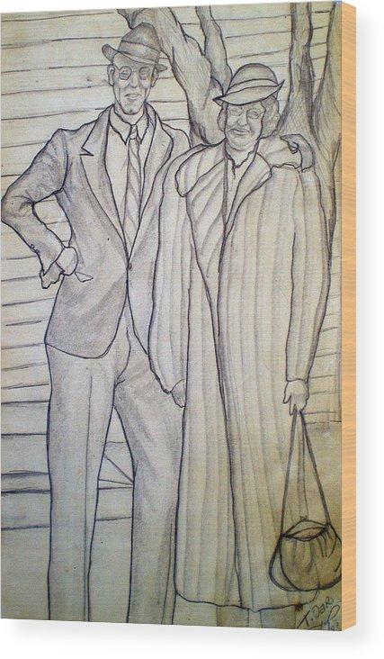 Grandparents Wood Print featuring the drawing Grandma And Grandpa Albee by Tammera Malicki-Wong