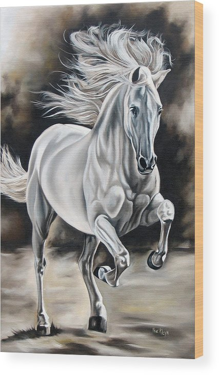 Horse Wood Print featuring the painting Hereje by Ilse Kleyn