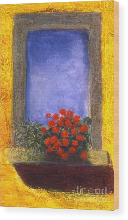 Colorful Wood Print featuring the painting La Finstra Con I Fiori by Mary Erbert