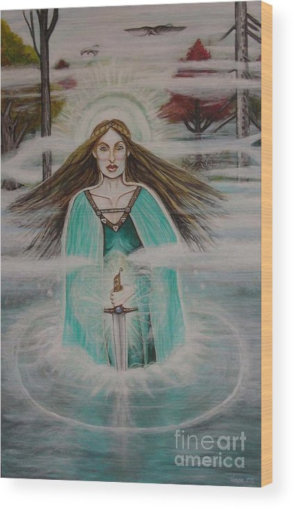 Goddess Wood Print featuring the painting Lady Of The Lake II by Tammy Mae Moon