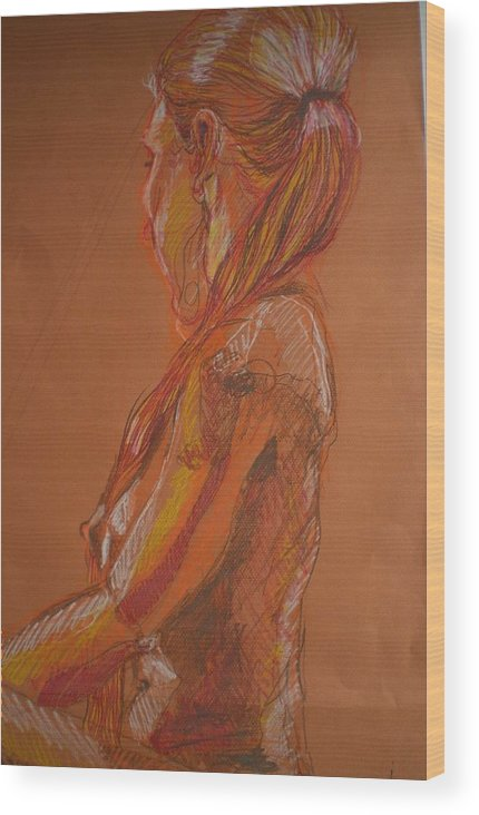 Setaed Female Figure Wood Print featuring the painting Looking Away by Aleksandra Buha