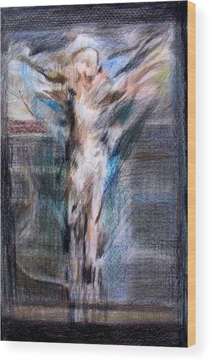 Crucifixion Wood Print featuring the painting Mhc #091223 by John Warren OAKES