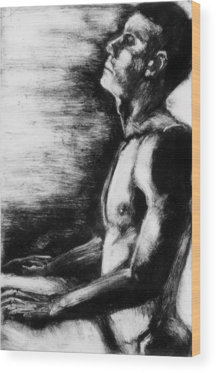 Male Wood Print featuring the painting Monotype Series 29 by John Clum
