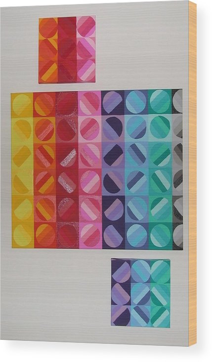 Multi Colored Circles Painting Wood Print featuring the painting Over And Under The Rainbow by Gay Dallek