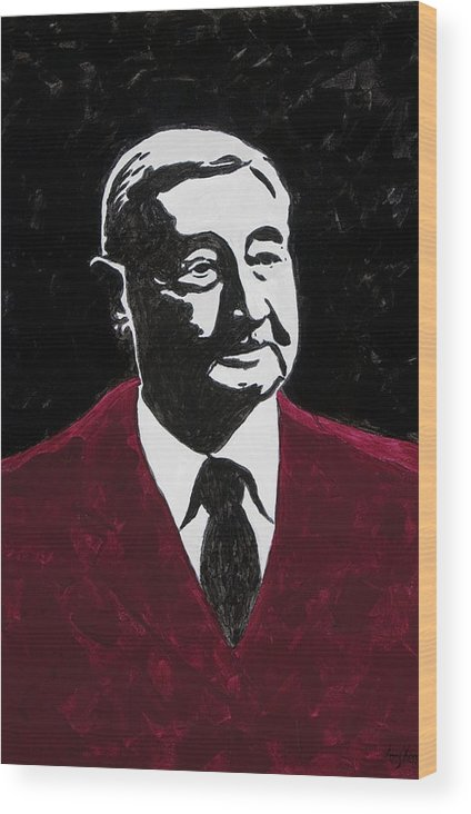 Voice Of The Razorbacks Wood Print featuring the painting Paul Eells by Amy Parker Evans