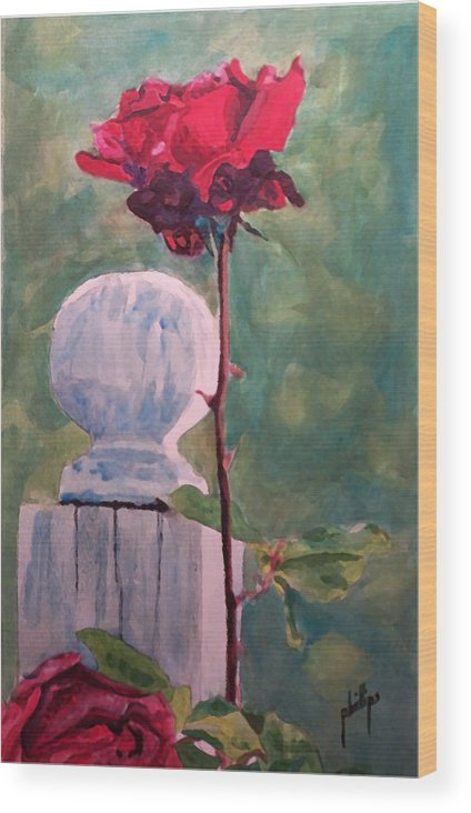 Post Wood Print featuring the painting Post And The Rose by Jim Phillips