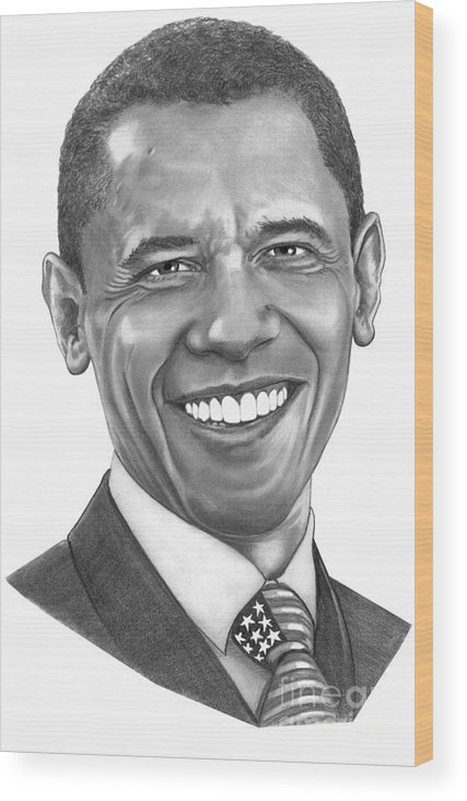 Drawing Wood Print featuring the drawing President Barack Obama By Murphy Art. Elliott by Murphy Elliott