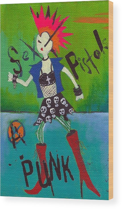 Girl Wood Print featuring the painting Punk Rocks Her by Ricky Sencion
