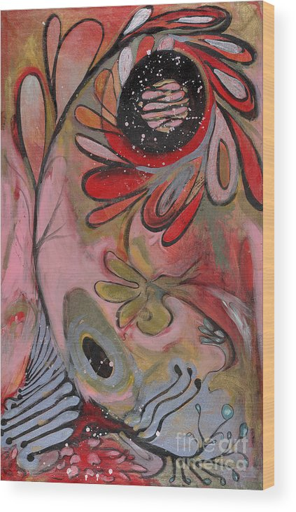 Painting Wood Print featuring the painting Red Flower by Michelle Spiziri