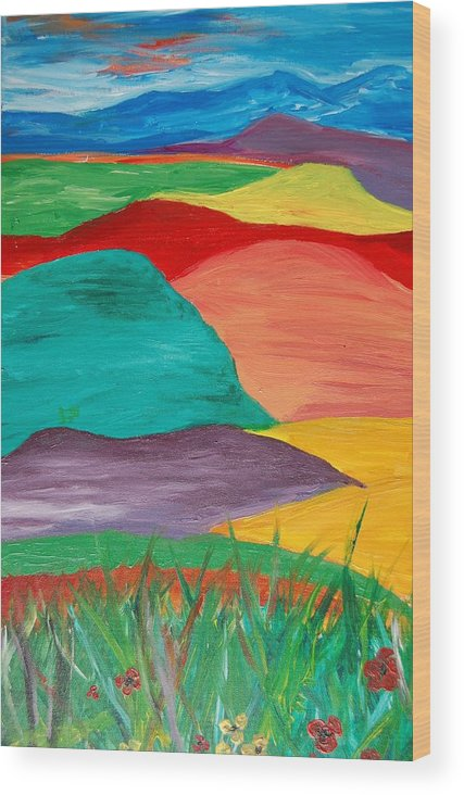 Landscape Wood Print featuring the painting Rolling Hills by Anza Arain