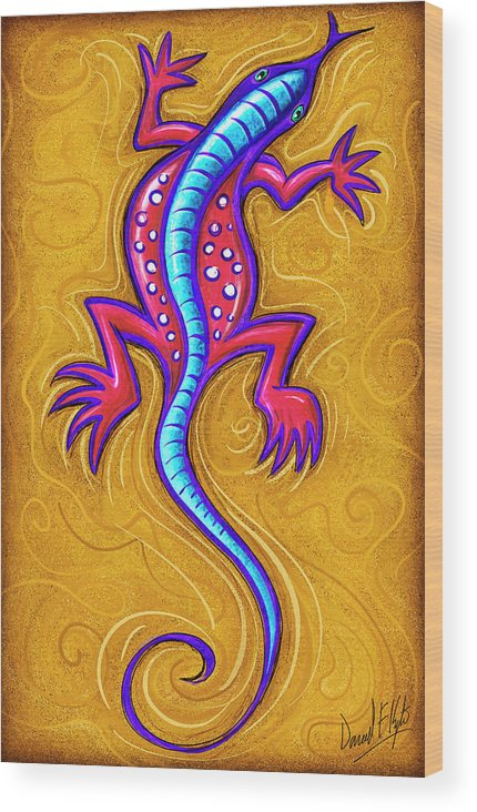 Lizard Wood Print featuring the painting Sand Lizard by David Kyte
