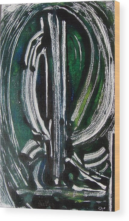 Abstract Wood Print featuring the painting Signe by Muriel Dolemieux
