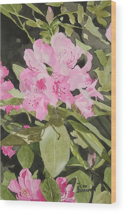 Flowers Wood Print featuring the painting Spring At The Cabin by Jean Blackmer