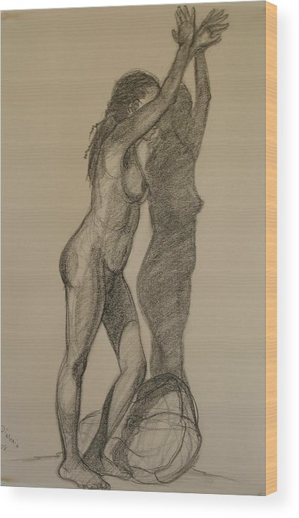 Realism Wood Print featuring the drawing Standing Nude 1 by Donelli DiMaria