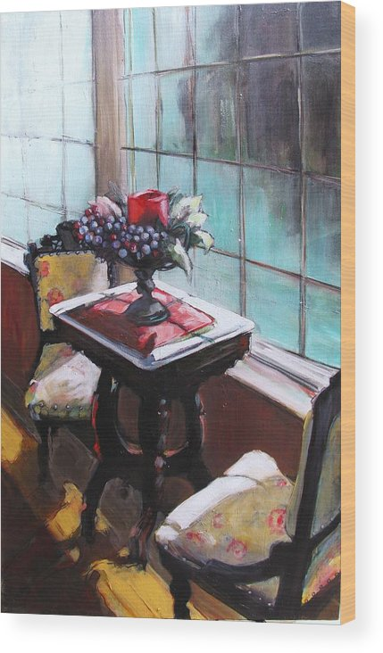 Sitting Room Wood Print featuring the painting Still Moment by Michelle Winnie