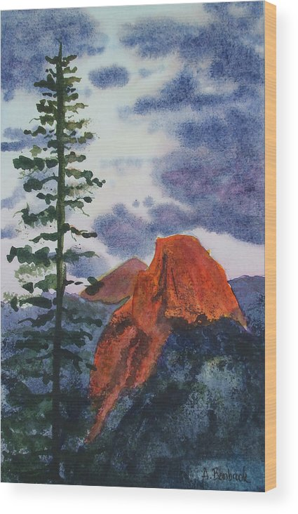 Yosemite Wood Print featuring the painting Sunset At Half Dome by Ally Benbrook