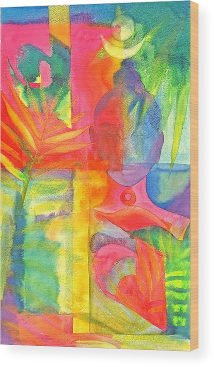 Abstract Colourful Buddha Exotic Mystery Spiritual Wood Print featuring the painting The Buddha's Head by Jennifer Baird