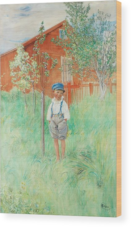 Carl Larsson Wood Print featuring the painting The Child by Celestial Images