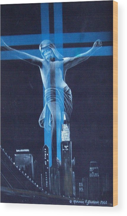 New York Wood Print featuring the painting The Light by Norman F Jackson