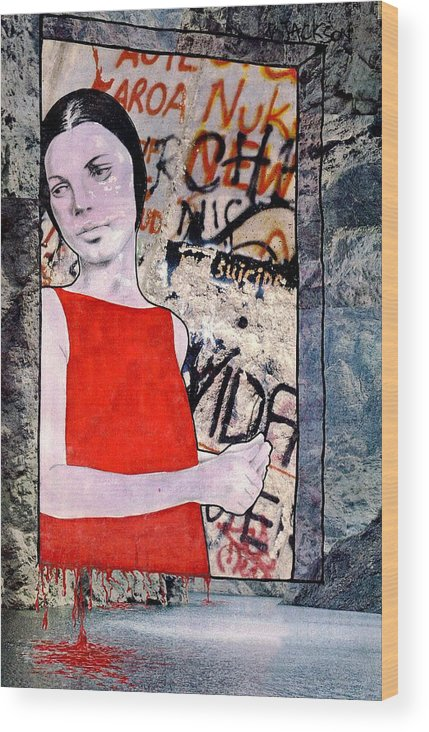 Woman Window Wall Water Blood Life Wood Print featuring the mixed media The Window by Veronica Jackson