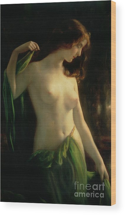 Water Nymph Wood Print featuring the painting Water Nymph by Otto Theodor Gustav Lingner
