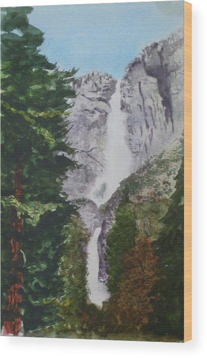 Yosemite Wood Print featuring the painting Yosemite Falls 1 by Ally Benbrook
