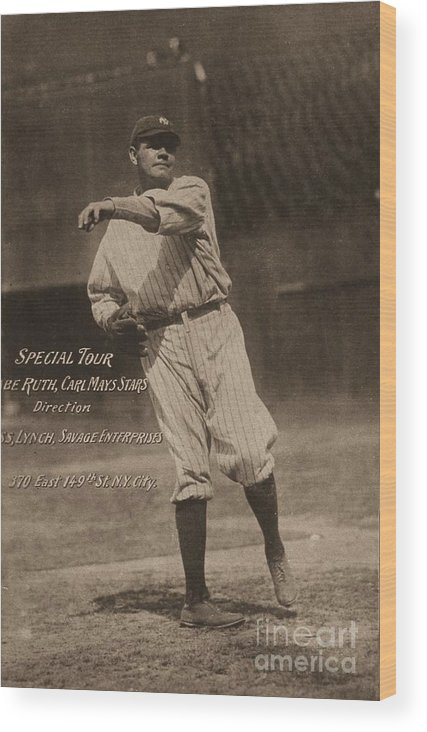 People Wood Print featuring the photograph Babe Ruth Special Tour Postcard by Transcendental Graphics