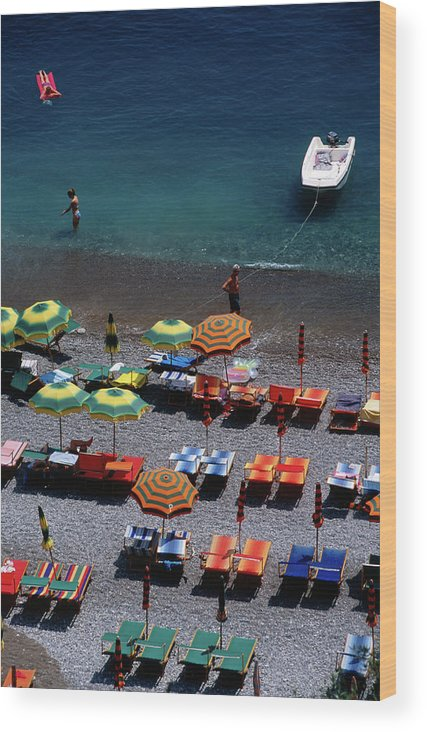 Shadow Wood Print featuring the photograph Overhead Of Unmbrellas, Deck Chairs At by Dallas Stribley