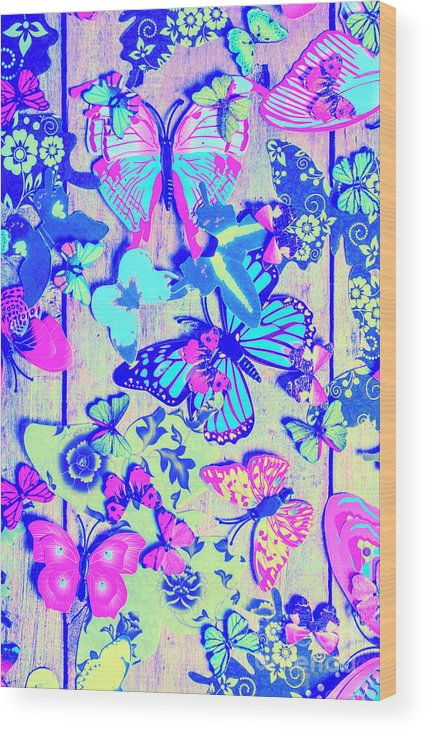 Pastel Wood Print featuring the photograph Pastel Wings And Button Butterflies by Jorgo Photography - Wall Art Gallery