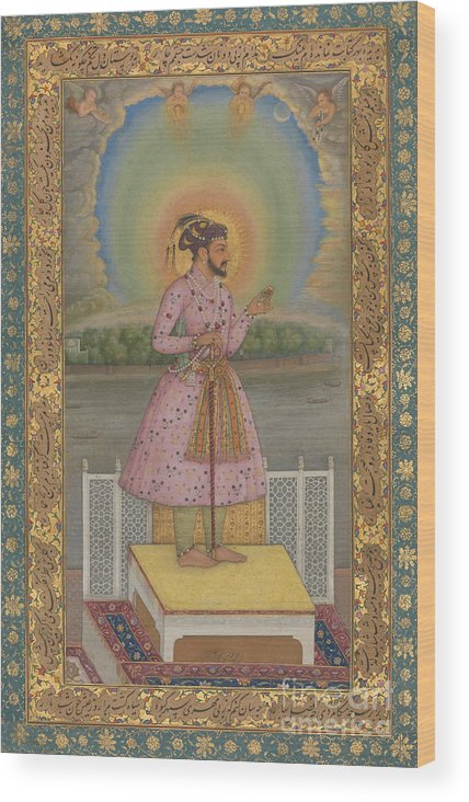 Indian Wood Print featuring the painting Shah Jahan On A Terrace by Chitarman
