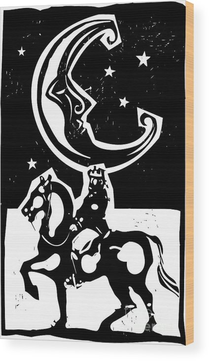 Magic Wood Print featuring the digital art Woodcut Style Moon And Mounted King On by Jef Thompson