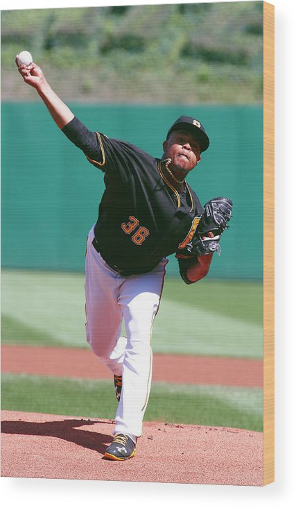 Professional Sport Wood Print featuring the photograph Edinson Volquez by Justin K. Aller