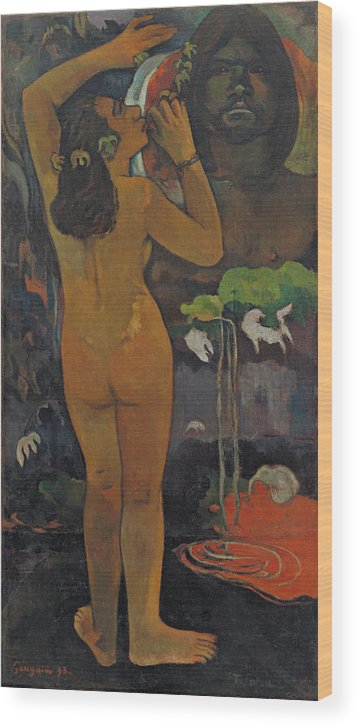 Paul Gauguin Wood Print featuring the painting The Moon And The Earth by Paul Gauguin