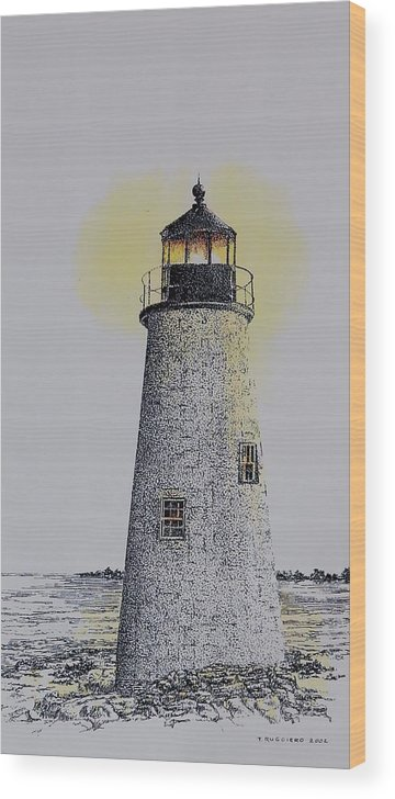 New England Lighthouse Seascape Landscape Pen & Ink Watercolor Coastline Connecticut Wood Print featuring the painting Light On The Sound by Tony Ruggiero