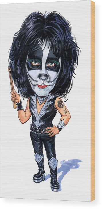 Peter Criss Wood Print featuring the painting Peter Criss by Art