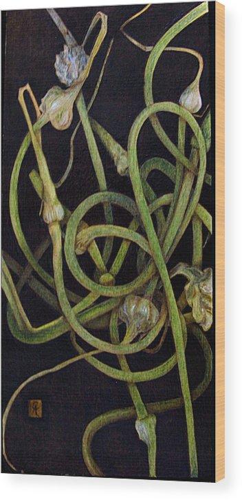 Pyrography Wood Print featuring the pyrography Garlic Heads by Cynthia Adams