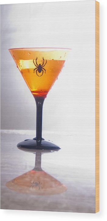 Martini Wood Print featuring the photograph Spider Martini by Barbara Kelley
