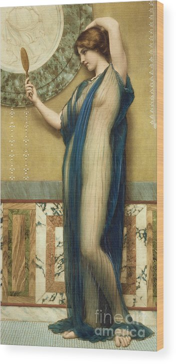 A Fair Reflection (hand Colored Photo-engraving) By John William Godward (1861-1922) (after) Mirror; Marble; Nude; Looking Glass; Female; Classical; Vain Wood Print featuring the painting A Fair Reflection by John William Godward