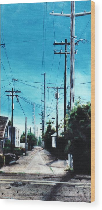 Cityscapes Wood Print featuring the painting Alley No. 1 by Duke Windsor