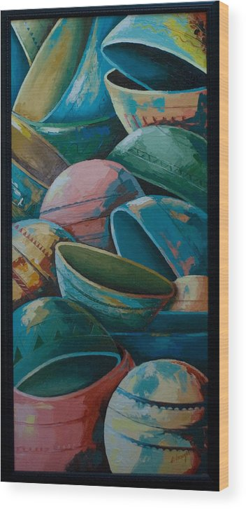 Wood Print featuring the painting Calabash by Alfred Awonuga